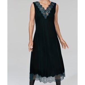 ZARA Green Velvet midi dress with lace trim *NWT*